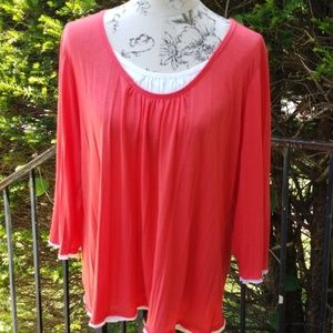 Chicos coral orange and white top